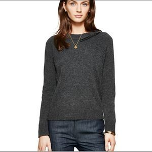 Kate Spade Gray Bow Tab Sweater Leather Elbows